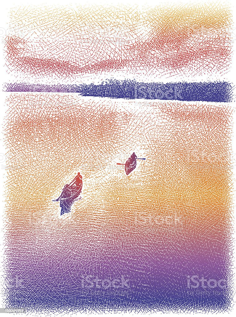 Canoes At Sunset royalty-free stock vector art