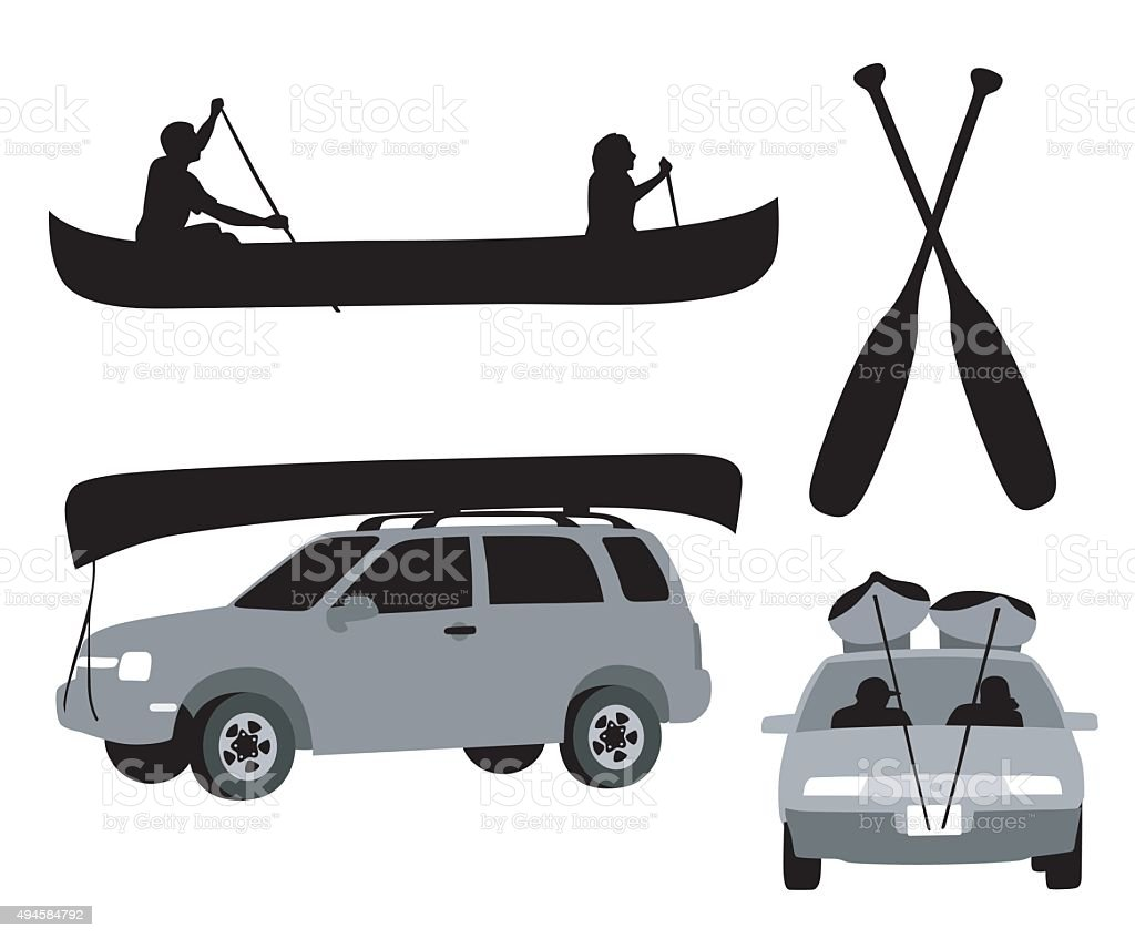 Canoing Trip vector art illustration