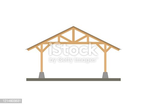 simple illustration of canopy with wooden frame.