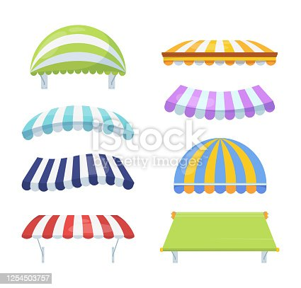 istock Canopy colour striped set. Stylish multicolored awnings shelter green from rain sun necessary blue accessory cafe retail element pink of architecture circus summer theater. cartoon vector. 1254503757