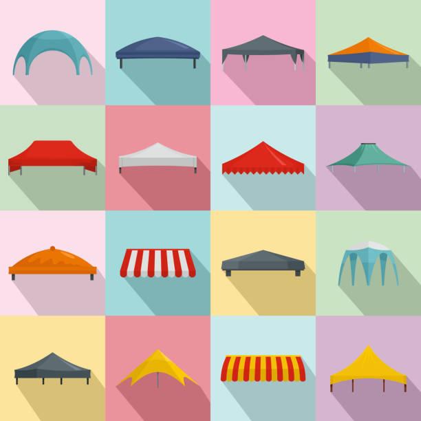 baldachin schuppen überhang icons set, flachen stil - stoffmarkt stock-grafiken, -clipart, -cartoons und -symbole