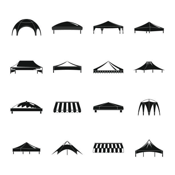 Canopy shed overhang icons set, simple style Canopy shed overhang icons set. Simple illustration of 16 canopy shed overhang vector icons for web pavilion stock illustrations