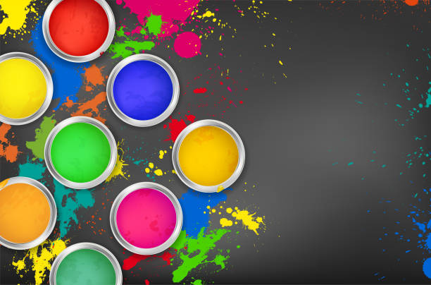 Cans of paint on a dark background with colorful splashes Cans of paint on a dark background with colorful splashes and copy space for your text - vector illustration paint can stock illustrations