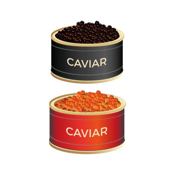 ilustraciones, imágenes clip art, dibujos animados e iconos de stock de latas con caviar - caviar