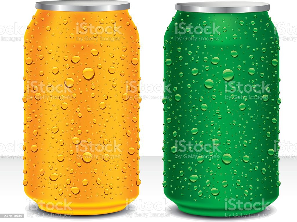 Cans with different colour and fresh water drops vector art illustration