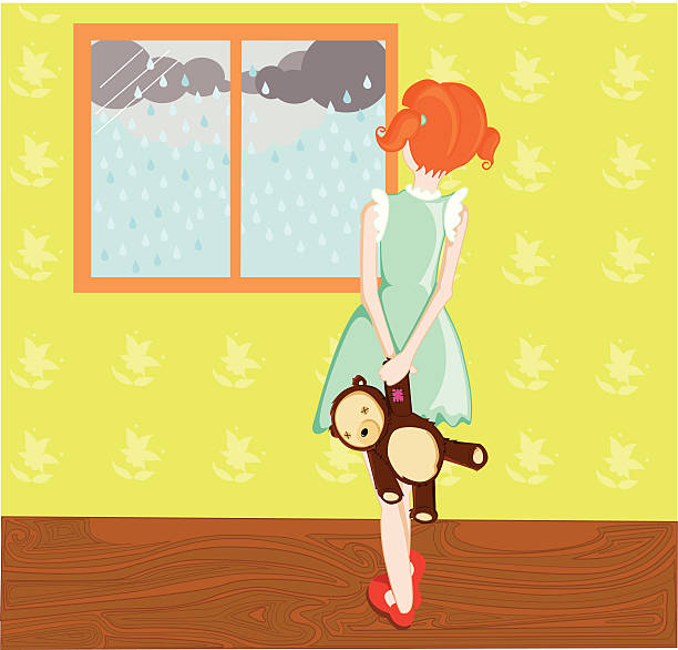 can't go outside to play - kids playing in rain stock illustrations, clip art, cartoons, & icons