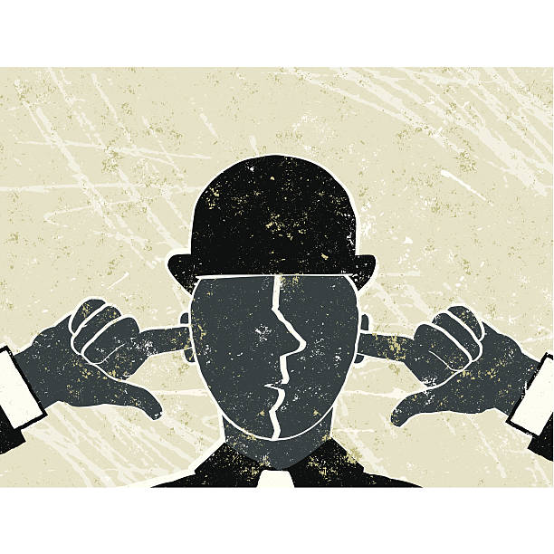 I Can't Hear You! Businessman with Fingers in Ears I Can't Hear You!  A stylized vector cartoon of a businessman with his fingers in his ears reminiscent of an old screen print poster and suggesting oblivious, ignore, loneliness, censorship, mute or not listening. Man, hat, hands, paper texture, and background are on different layers for easy editing. Please note: clipping paths have been used, an eps version is included without the path. hands covering ears stock illustrations