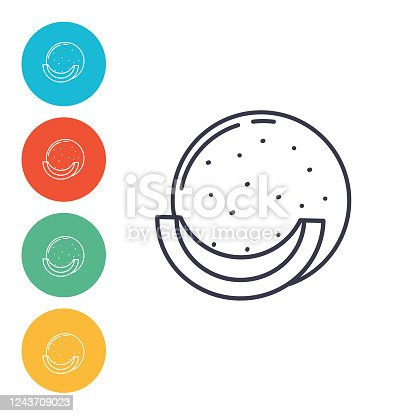 istock Cantaloupe Line Icons On Colored Bases 1243709023