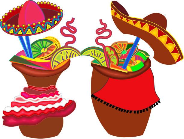 Cantaritos Mexican Cocktail vector art illustration