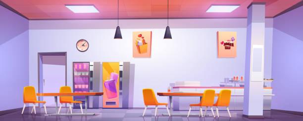 illustrazioni stock, clip art, cartoni animati e icone di tendenza di canteen interior in school, college or office - banchi scuola