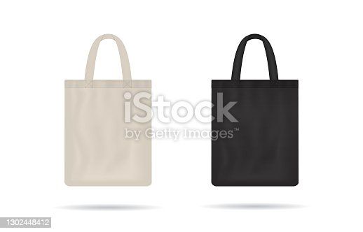 istock Canvas bag. mockup of fabric tote. Cloth totebag with handle. template of black and white cotton eco bag. Reusable tote for shopping. Blank mock for shopper. Ecobag for grocery. Vector 1302448412