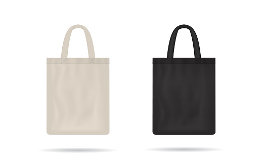 Canvas bag. mockup of fabric tote. Cloth totebag with handle. template of black and white cotton eco bag. Reusable tote for shopping. Blank mock for shopper. Ecobag for grocery. Vector