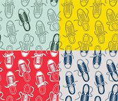 Four seamless patterns with canvas shoes.