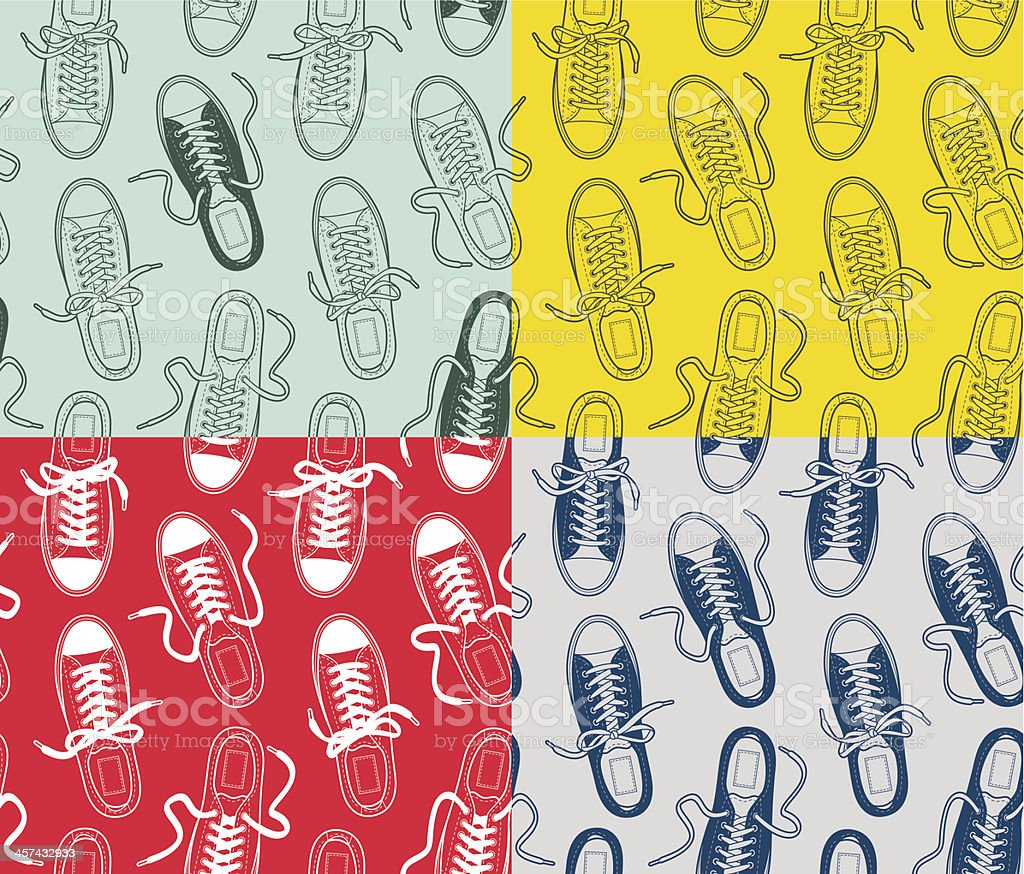Canvas gumshoes seamless patterns vector art illustration