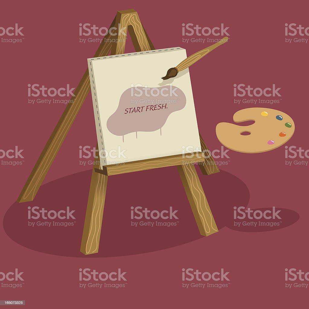 Canvas on Easel vector art illustration