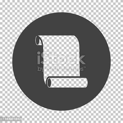 Canvas scroll icon. Subtract stencil design on tranparency grid. Vector illustration.