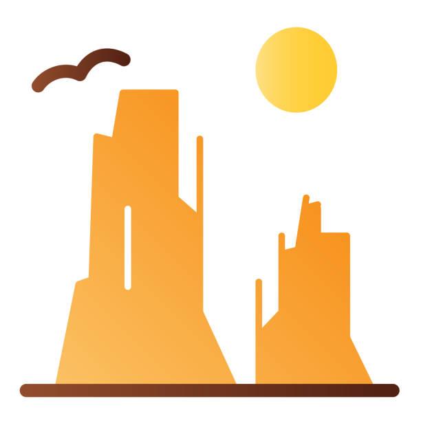 каньон и солнце плоский значок. иконы цвета плато утеса в ультрамодном плоском типе. дизайн ландшафтного градиентного стиля природы, предн� - плато stock illustrations