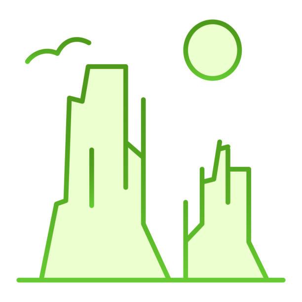 каньон и солнце плоский значок. рок плато зеленые иконы в модном плоском стиле. дизайн ландшафтного градиентного стиля природы, предназнач� - плато stock illustrations