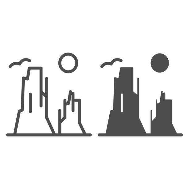 каньон и линия солнца и икона глифа. иллюстрация вектора каменного плато изолирована на белом. природа пейзаж наброски стиль дизайна, предн - плато stock illustrations