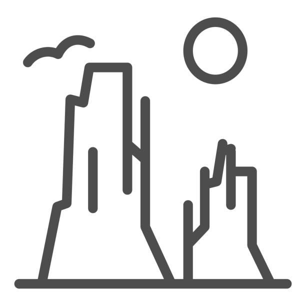 значок каньона и линии солнца. иллюстрация вектора каменного плато изолирована на белом. природа пейзаж наброски стиль дизайна, предназнач - плато stock illustrations