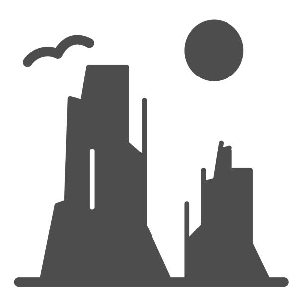 каньон и солнце твердых значок. иллюстрация вектора каменного плато изолирована на белом. природа пейзаж глиф стиль дизайна, предназначенн - плато stock illustrations