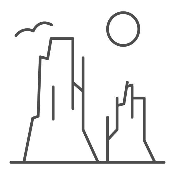 каньон и солнце тонкая линия значок. иллюстрация вектора каменного плато изолирована на белом. природа пейзаж наброски стиль дизайна, пред� - плато stock illustrations
