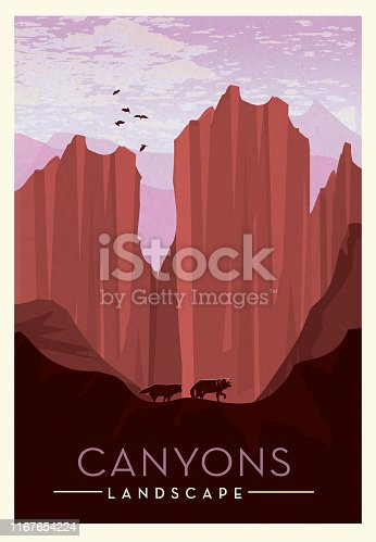 Vector illustration of a Canyon lands with cliff, wolves and birds scenic poster design with text. Vintage texture overlay. Fully editable EPS 10.