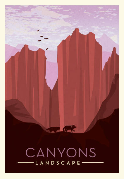 Canyon lands with cliff, wolves and birds scenic poster design with text Vector illustration of a Canyon lands with cliff, wolves and birds scenic poster design with text. Vintage texture overlay. Fully editable EPS 10. adventure backgrounds stock illustrations