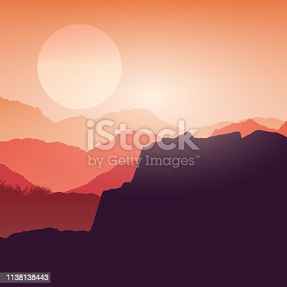 Silhouette of a canyon and peaks landscape against a sunset sky