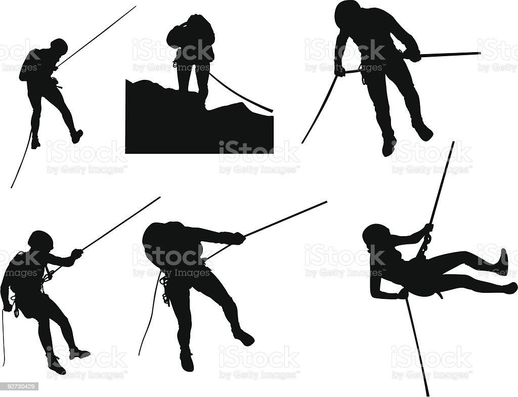 Canyoning silhouettes vector art illustration