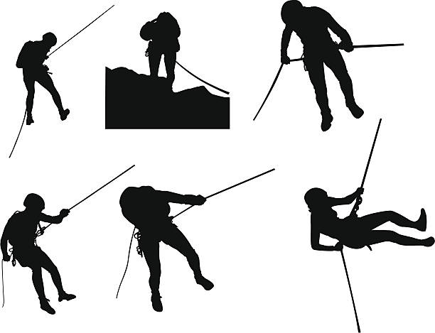 canyoning silhouettes - rock climbing stock illustrations, clip art, cartoons, & icons