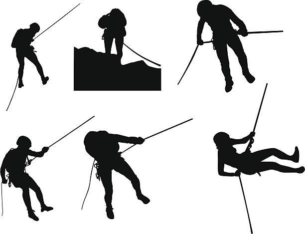 canyoning シルエット - ロッククライミング点のイラスト素材/クリップアート素材/マンガ素材/アイコン素材