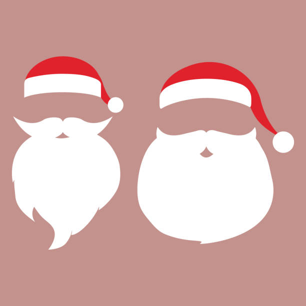 ilustrações de stock, clip art, desenhos animados e ícones de cap and mustache with a beard of santa claus on a white backgrou - barba