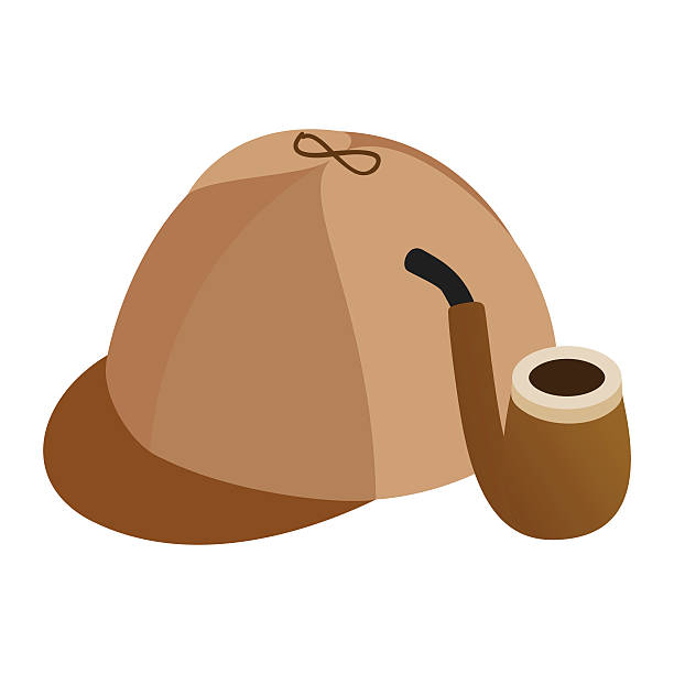 Cap and pipe isometric 3d icon Cap and pipe isometric 3d icon isolated on a white background deerstalker hat stock illustrations