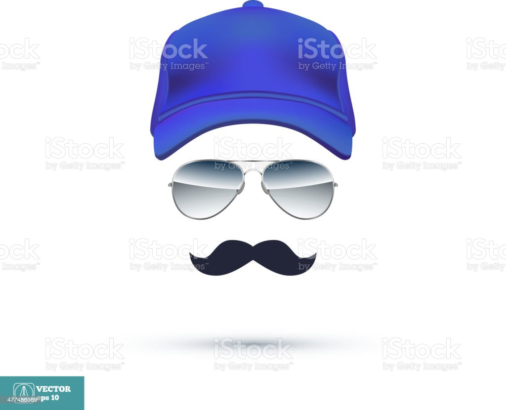 Cap, Glasses and Mustache. Vector vector art illustration