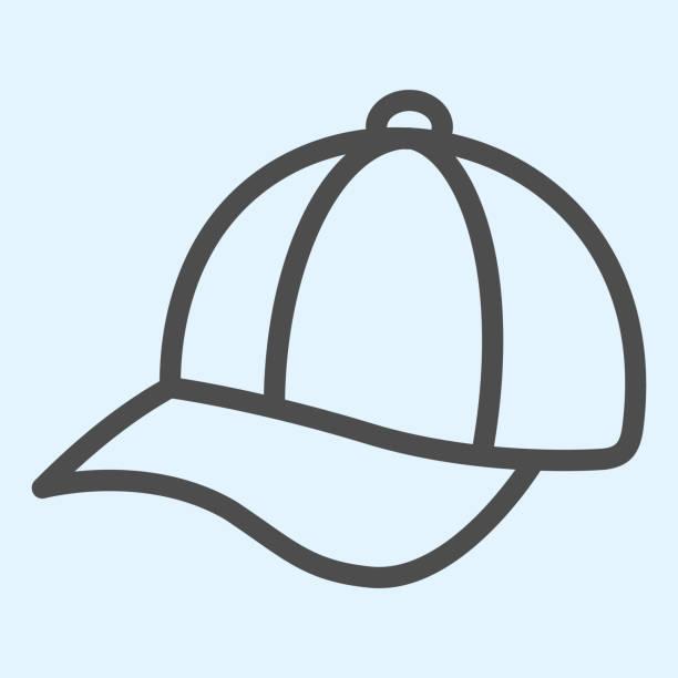 캡 선 아이콘입니다. 야구 레더 모자. 스포츠 벡터 디자인 개념, 흰색 배경에 윤곽 스타일 픽토그램, 웹 및 응용 프로그램에 사용. eps 10. - 모자 모자류 stock illustrations