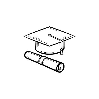Chapeau De Diplômé Et Certificat Icône Dessinée À La Main