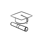 Cap of graduate and certificate hand drawn icon