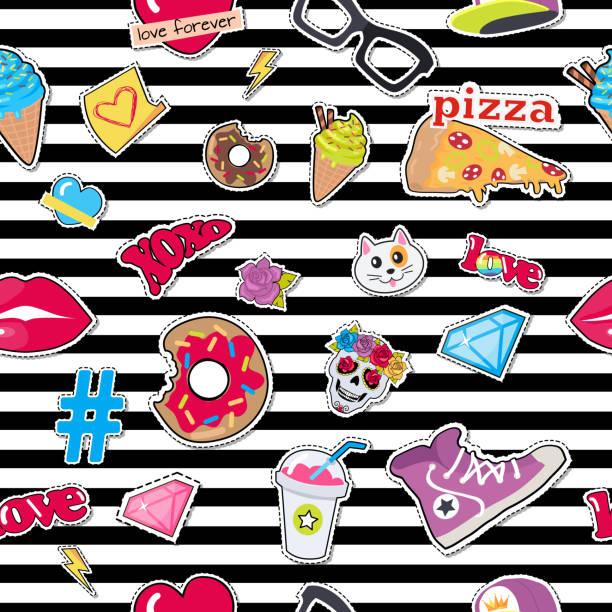 cap, sport footwear, pizza, doughnut, cat, skull - stripped pattern stock illustrations, clip art, cartoons, & icons