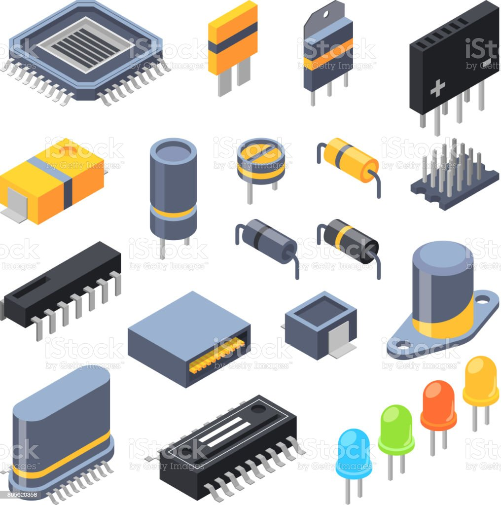 Capacitor Different Chips Semiconductor And Electrical Components Role Of Capacitors In Electronic Circuit For Parts Royalty Free
