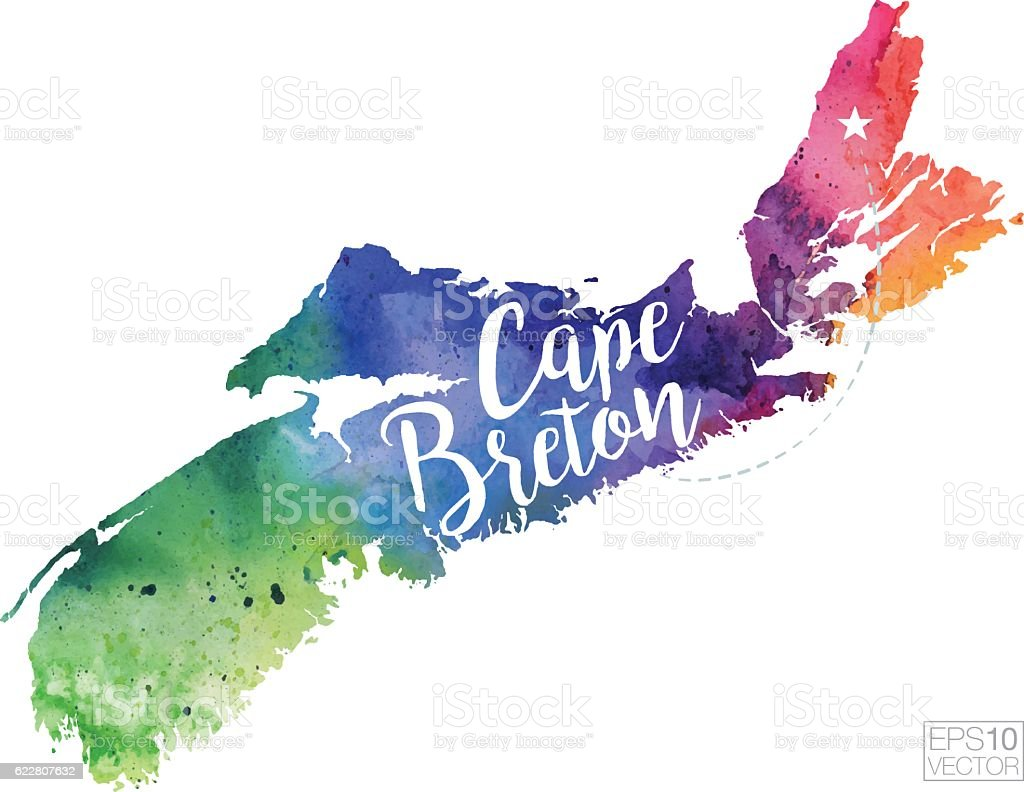 Cape Breton Nova Scotia Vector Watercolor Map Stock Vector Art