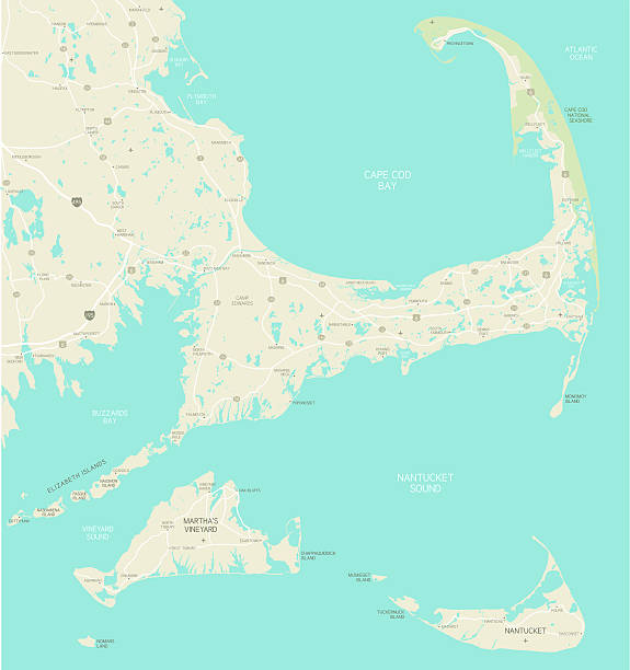 Cape Cod Area Map A map of the Cape Cod, Massachusetts region with a very detailed coastline. Includes Nantucket and Martha's Vineyard. Roads, lakes and city names are all on separate layers. Includes an extra-large JPG so that you can crop in to the area you need. cape cod stock illustrations