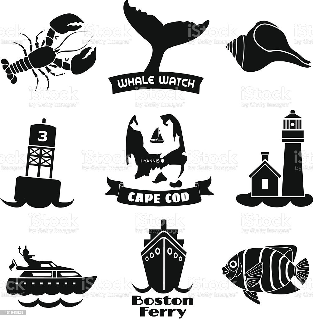 Cape Cod icons royalty-free stock vector art