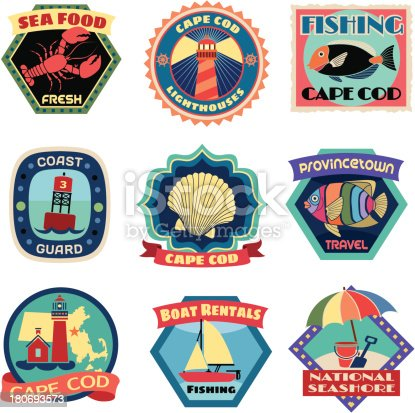 Cape cod luggage label or travel stickers stock vector art for Ma fishing license cost
