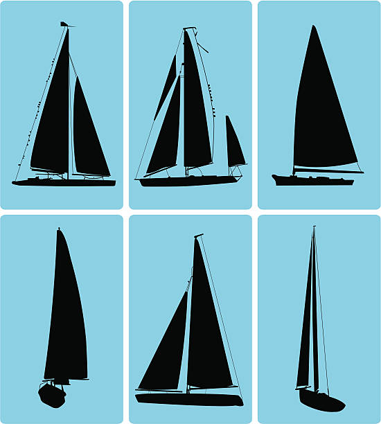 Cape Cod Sailboat Icons ( Vector ) Silhouette. svg stock illustrations