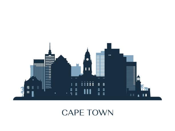 bildbanksillustrationer, clip art samt tecknat material och ikoner med cape town skyline, svartvit siluett. vektorillustration. - south africa
