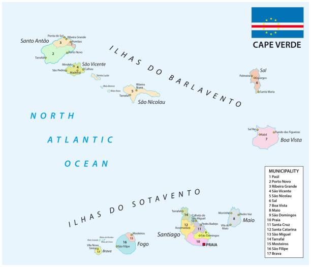 ilustrações de stock, clip art, desenhos animados e ícones de cape verde administrative and political map with flag - cabo verde