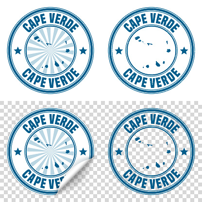 Cape Verde - Blue sticker and stamp with name and map