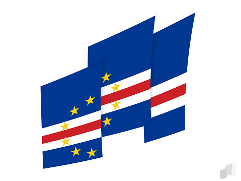 Cape Verde flag in an abstract ripped design. Modern design of the Cape Verde flag.