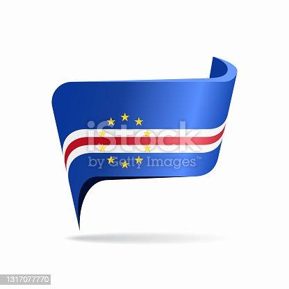 istock Cape Verde flag map pointer layout. Vector illustration. 1317077770